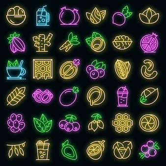 Ensemble d'icônes de superaliments. ensemble de contour d'icônes vectorielles de superaliments couleur néon sur fond noir