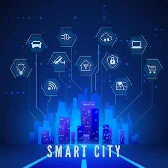 Ensemble d'icônes de surveillance et de contrôle du paysage de la ville intelligente et du système