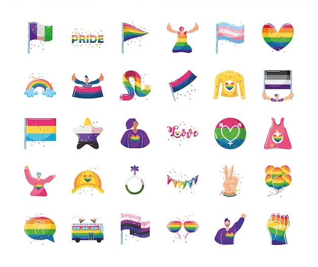 Ensemble d'icônes avec des symboles de la communauté lgbtq