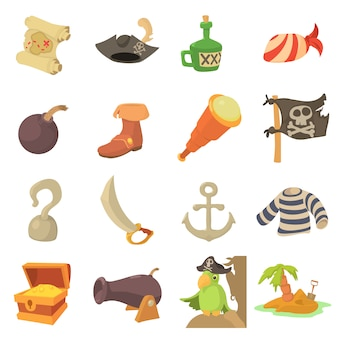 Ensemble d'icônes de symboles de culture pirate