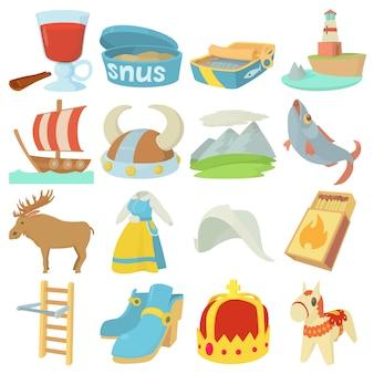 Ensemble d'icônes symboles de voyage suède