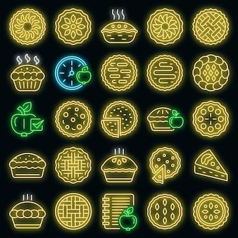 Ensemble d'icônes de tarte aux pommes néon vectoriel