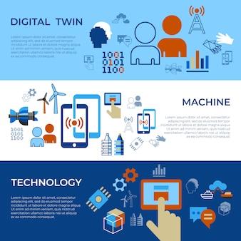 Ensemble d'icônes de technologie d'assistant numérique