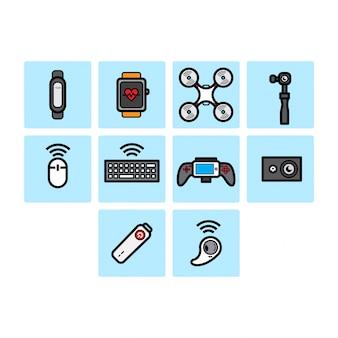 Ensemble d'icônes de la technologie des couleurs plates