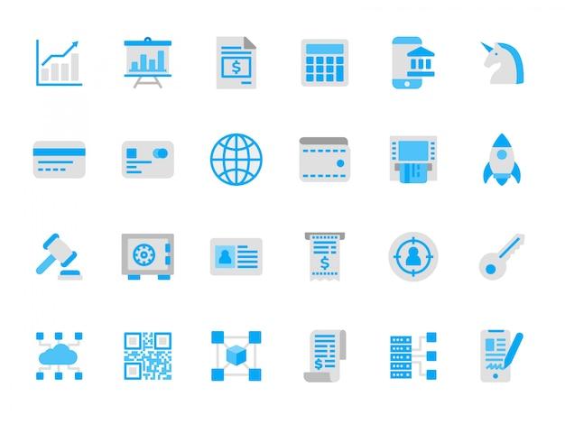 Ensemble d'icônes de la technologie financière en couleurs plates