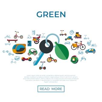 Ensemble d'icônes de technologie de transport écologique