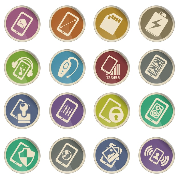 Ensemble d'icônes de téléphone portable ou cellulaire, smartphone, spécifications et fonctions
