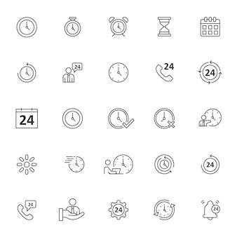Ensemble d'icônes de temps avec contour simple