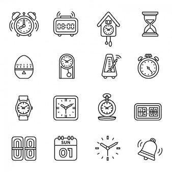 Ensemble d'icônes temps et horloge