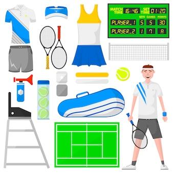 Ensemble d'icônes de tennis de dessin animé.