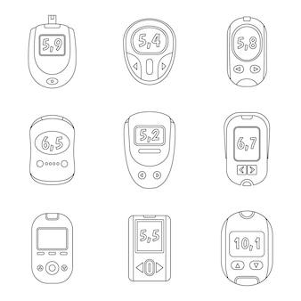 Ensemble d'icônes de test de sucre glucomètre
