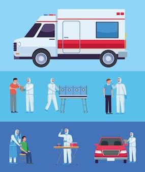 Ensemble d'icônes de test de virus d'ambulance et de covid