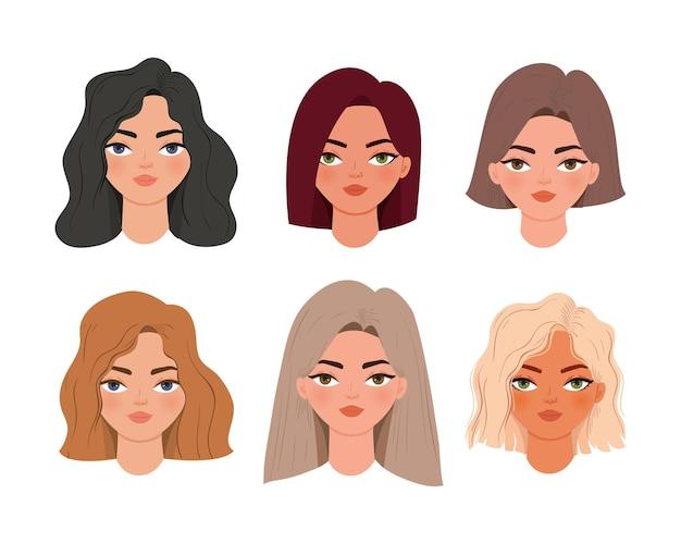 Ensemble d'icônes de têtes de femmes mignonnes illustration
