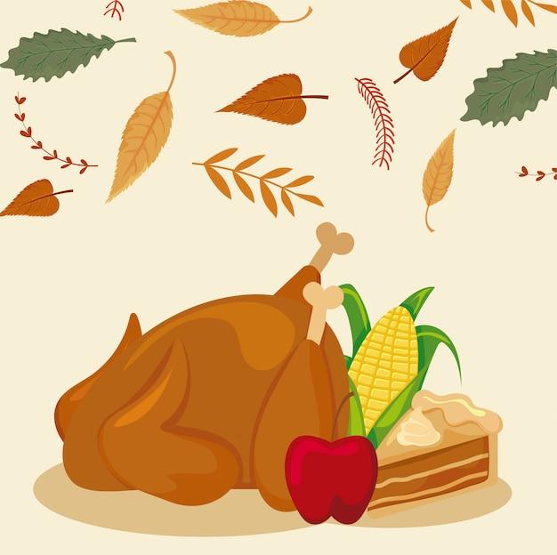 Ensemble d'icônes thanksgiving avec des feuilles d'automne