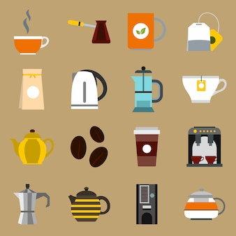 Ensemble d'icônes thé et café