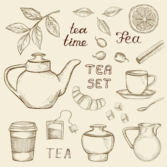 Ensemble d'icônes de thé dessinés à la main isolés sur fond vintage