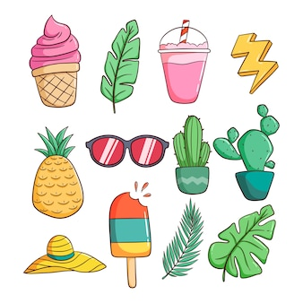 Ensemble d'icônes sur le thème de l'été