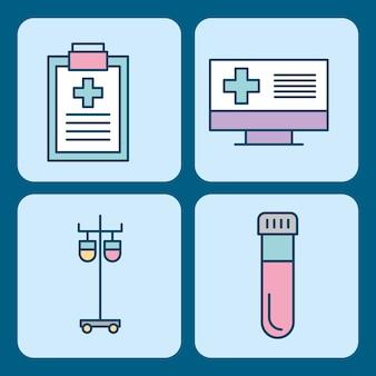 Ensemble d'icônes de thème science médecine médicale