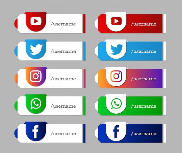 Ensemble d'icônes tiers inférieur médias sociaux