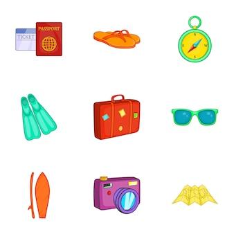 Ensemble d'icônes tourisme en mer, style cartoon