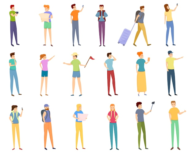 Ensemble d'icônes touristiques, style cartoon