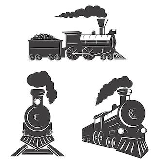 Ensemble d'icônes de trains sur fond blanc. éléments pour logo, étiquette, emblème, signe, marque.