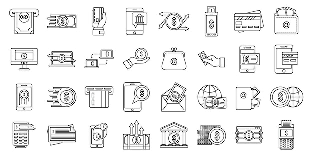 Ensemble d'icônes de transfert d'argent en espèces
