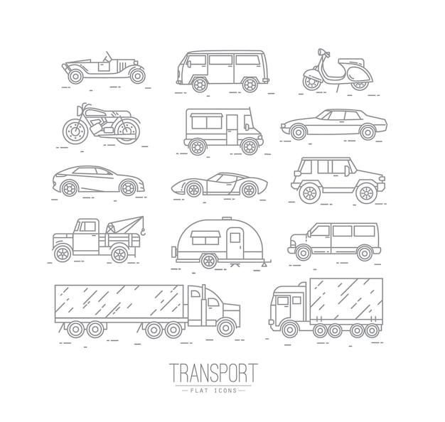 Ensemble d'icônes de transport dans le style plat