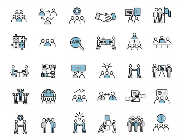 Ensemble d'icônes de travail d'équipe linéaire icônes de communication