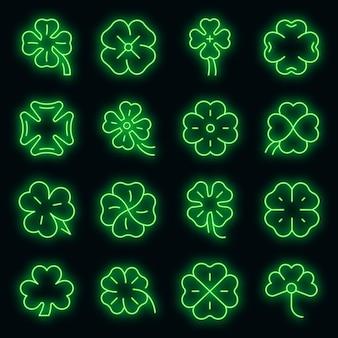 Ensemble d'icônes de trèfle. ensemble de contour d'icônes vectorielles trèfle couleur néon sur fond noir