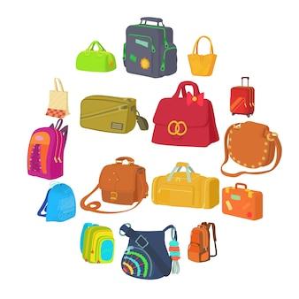 Ensemble d'icônes de types de sac, style plat