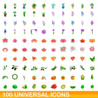 Ensemble d'icônes universelles, style cartoon