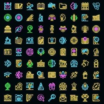 Ensemble d'icônes de l'université. ensemble de contour d'icônes vectorielles universitaires neoncolor sur fond noir