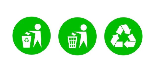 Ensemble d'icônes d'utilisation des déchets de recyclage vector aucun signe de détritus dans un cercle vert
