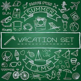 Ensemble d'icônes vacances dessinés à la main