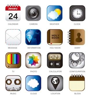 Ensemble d'icônes de vecteur d'application sur l'illustration de fond blanc