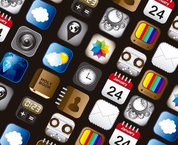 Ensemble d'icônes vectorielles app au cours de l'illustration de fond gris