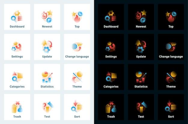 Ensemble d'icônes vectorielles dans un style dégradé. illustrations modifiables