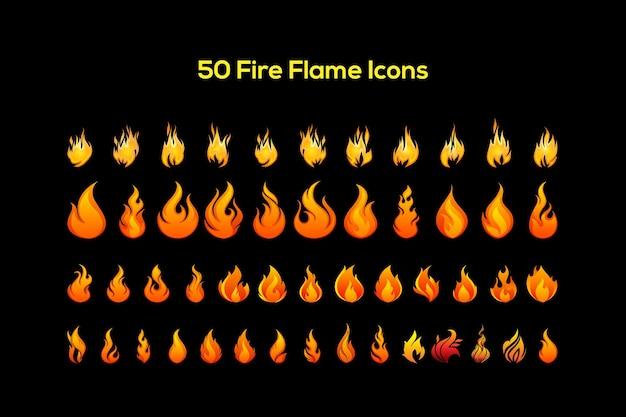 Ensemble d'icônes vectorielles de flamme de feu de 50 cinquante