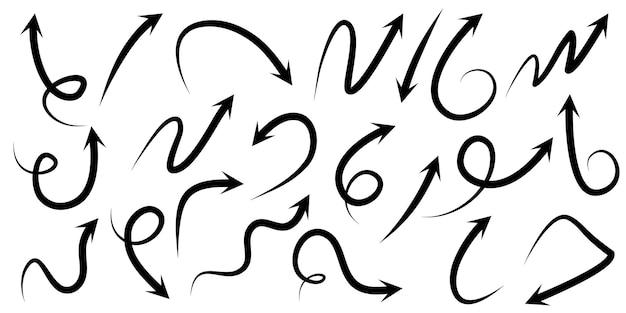 Ensemble d'icônes vectorielles flèche dessinés à la main.