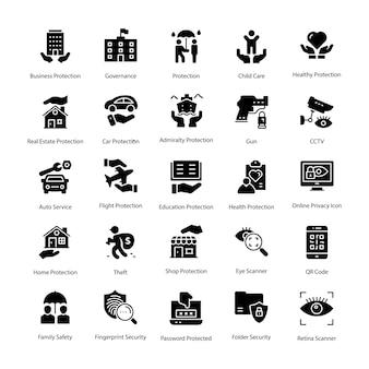 Ensemble d'icônes vectorielles de glyphe de protection