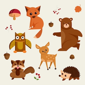 Ensemble d'icônes vectorielles isolées cartoon animal