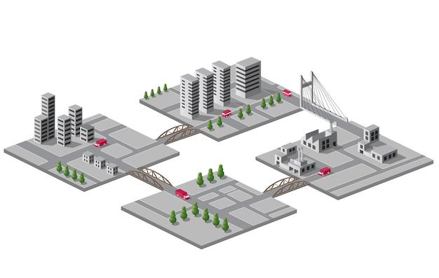 Ensemble d'icônes vectorielles d'isométrique sur la ville