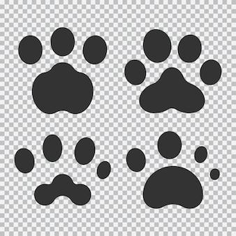 Ensemble d'icônes vectorielles de patte animale isolé sur un fond transparent.