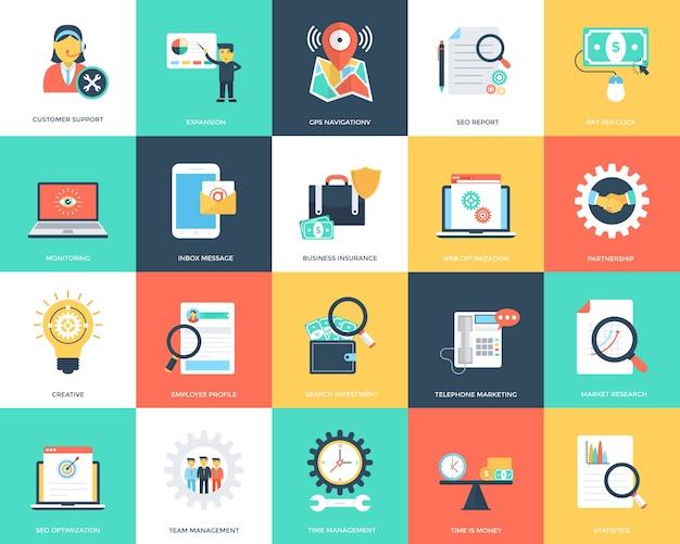Ensemble d'icônes vectorielles plat seo et marketing