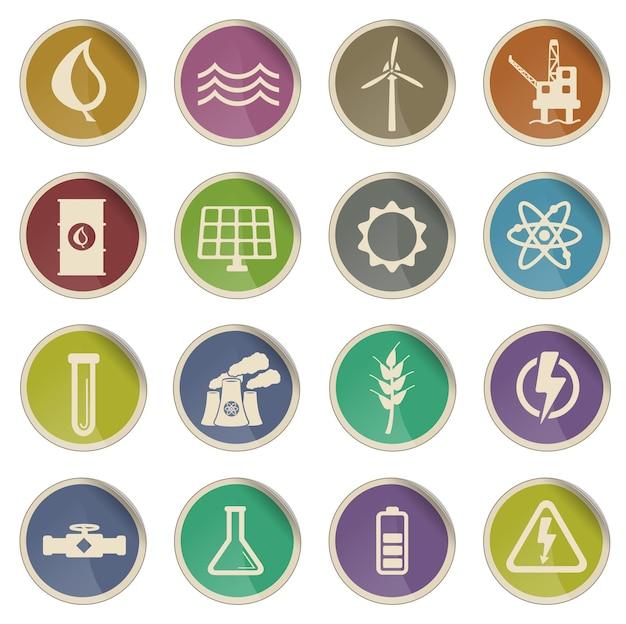 Ensemble d'icônes vectorielles de production d'électricité simplement