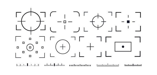 Ensemble d'icônes vectorielles de viseur de cadre de caméra isolé sur fond blanc pour le cadre de photographie d'écran