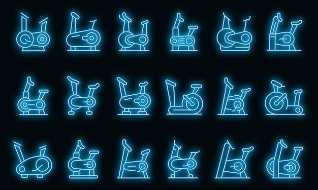 Ensemble d'icônes de vélo d'exercice. ensemble de contour d'icônes vectorielles de vélo d'exercice couleur néon sur fond noir