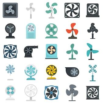 Ensemble d'icônes de ventilateur. ensemble plat d'icônes vectorielles de ventilateur isolé sur fond blanc