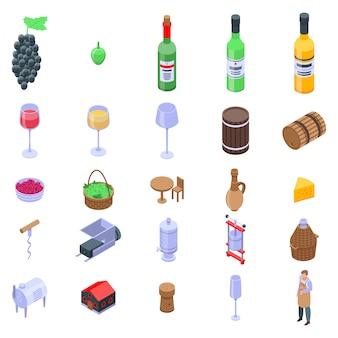 Ensemble d'icônes de vigneron